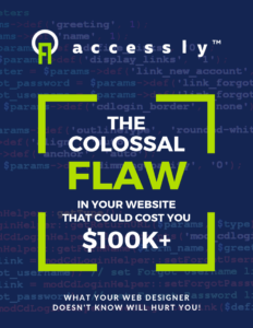 Accessly Ebook Cover: The Colossal Flaw in Your Website that could cost you $100,000 plus