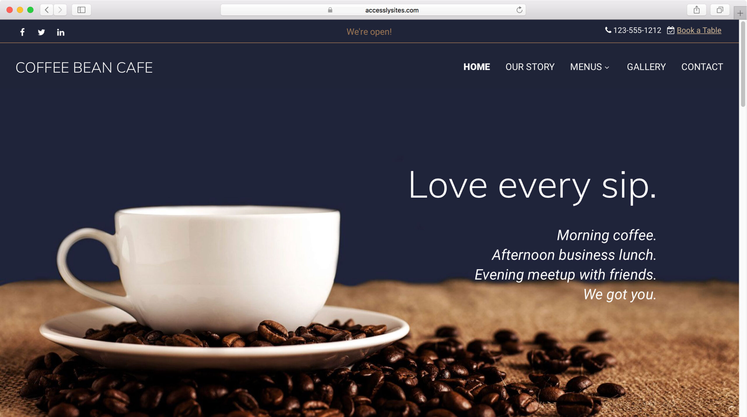 Accessly website template - Coffee Shop