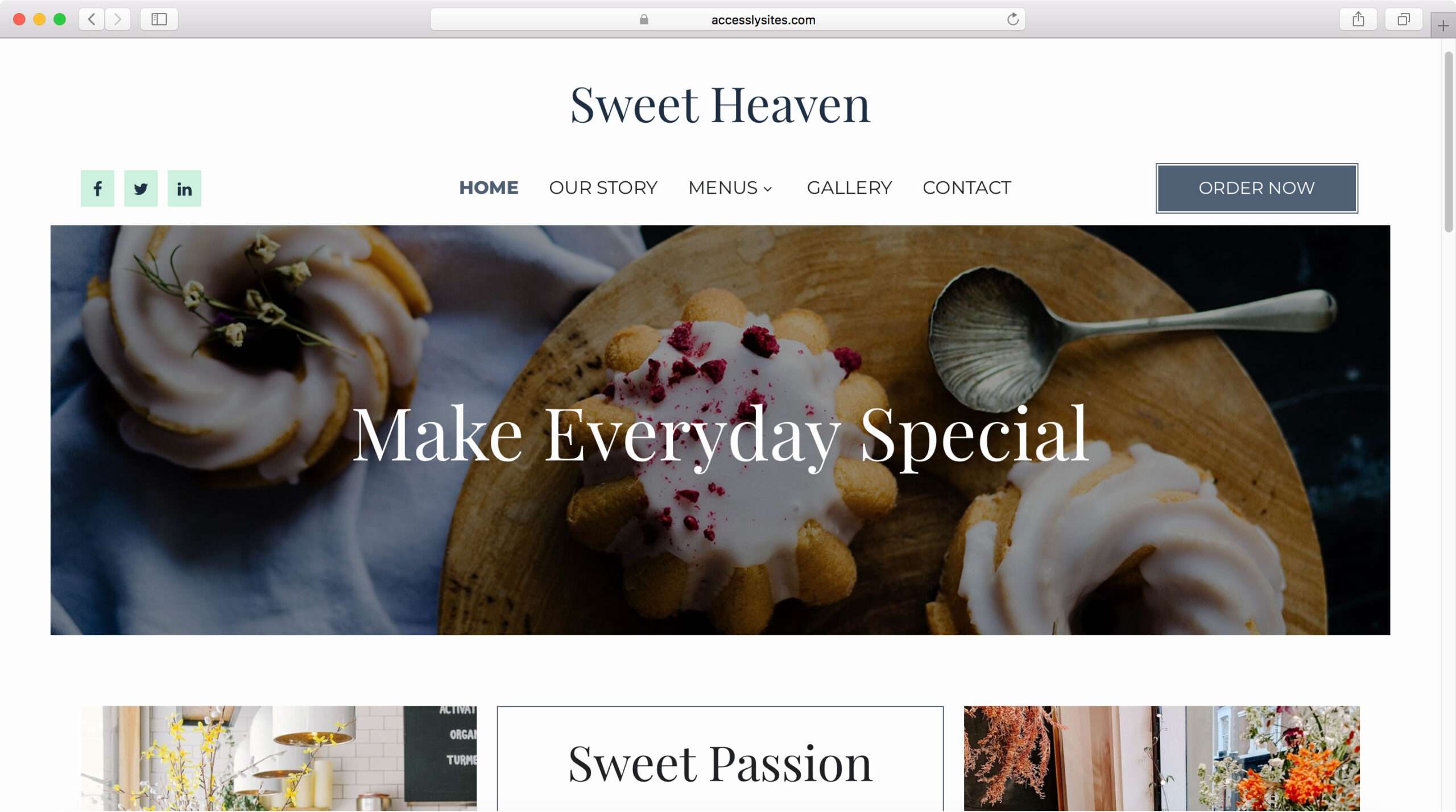 Accessly website template - Bakery