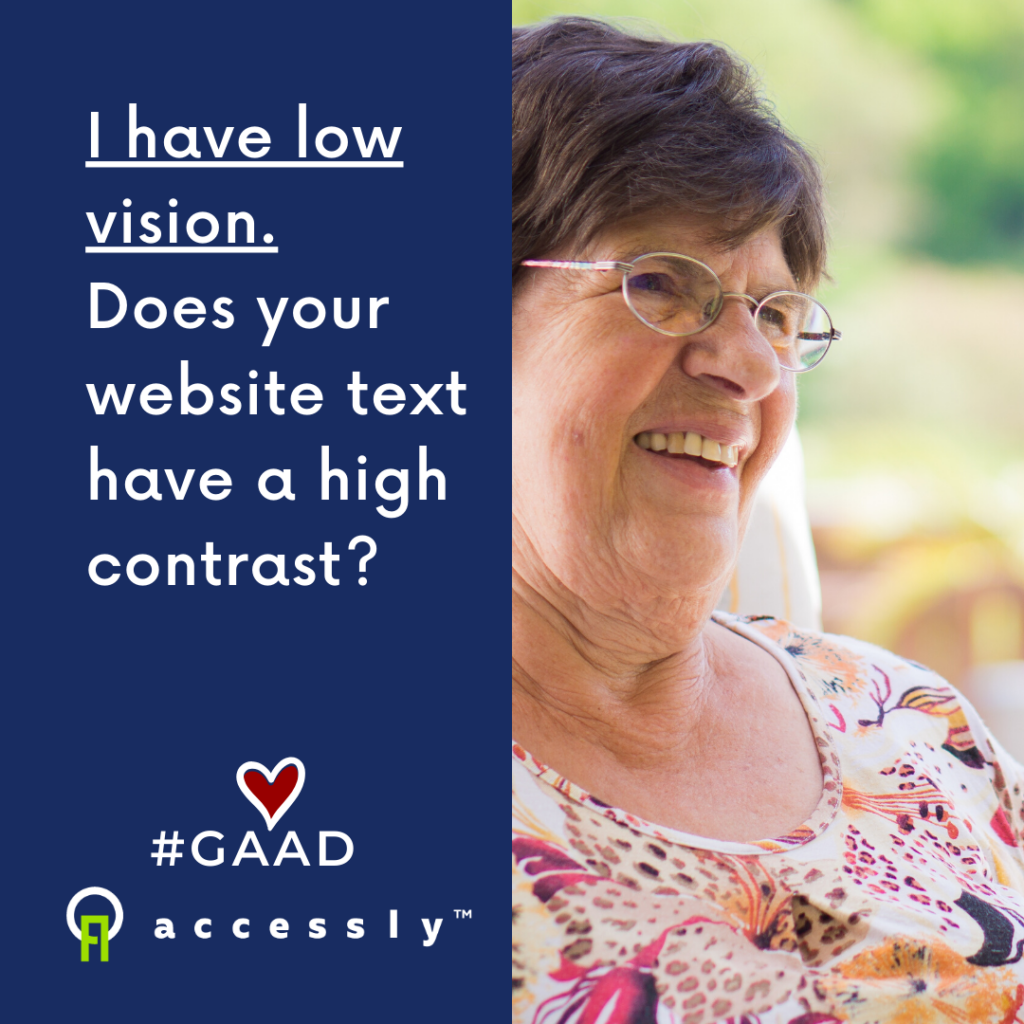 A smiling older woman wearing glasses depicting someone with low vision